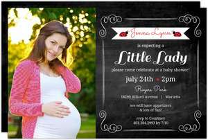 Ladybug Chalkboard Photo Baby Shower Invitation