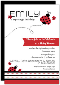 Black Red Flowers Ladybug Invitation