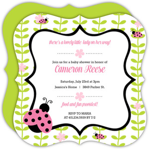 Floral Green Vines Ladybug Baby Shower Invitation