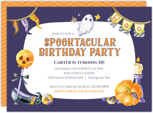 Ghostly Spooktacular Halloween Birthday Invitation