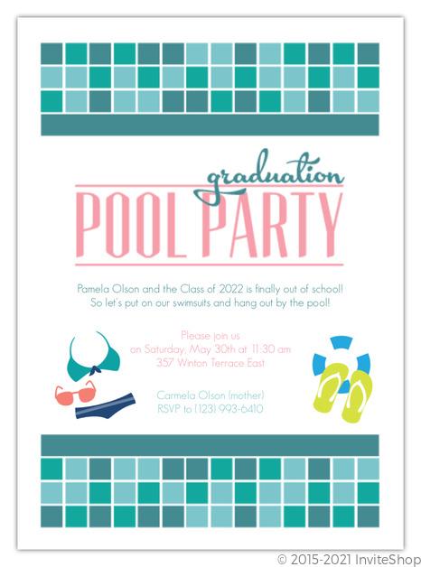 Tuquoise Tile Pool Party Graduation Invitation Graduation