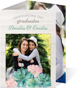 Whimsical Watercolor Succulents Graduation Invitation
