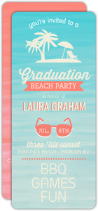 Watercolor Tropical Beach Graduation Invitation