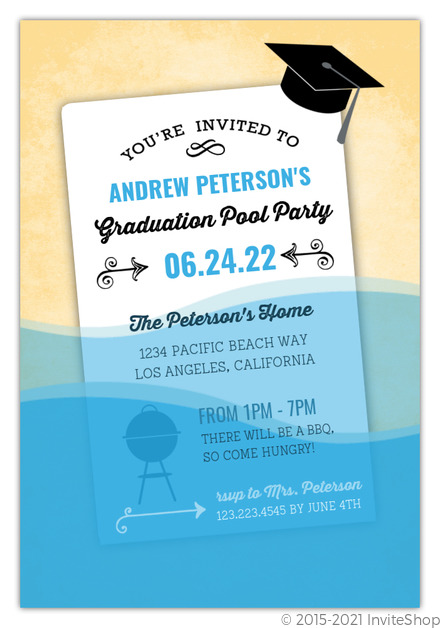 Fun wet paper graduation pool party invitation graduation fun wet paper graduation pool party invitation filmwisefo