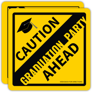 Caution Sign Open House Graduation Partry Invitation