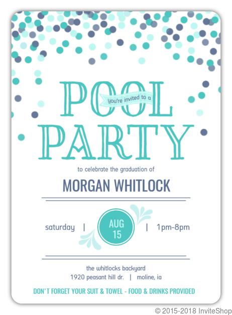 confetti celebration pool party graduation invitation graduation