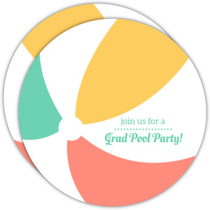 Beach Ball Pool Party Graduation Invitation