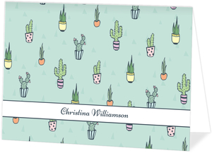 Mint Cactus Pattern Thank You Card