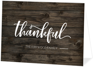 Woodgrain Grateful Thankful Blessed Thank You Card