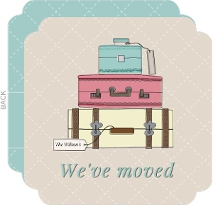 Vintage Luggage Moving Announcement