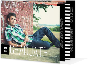 Black White Stripe Graduation Announcement