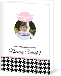 Black Houndstooth Pattern Graduation Announcement