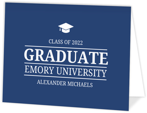 Simple Classic Blue Graduation Invitation Card