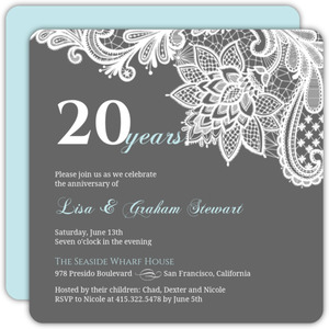 Blue-Gray White Lace Anniversary Invitation