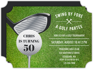 Driver Swing By Golf Birthday Party Invitation