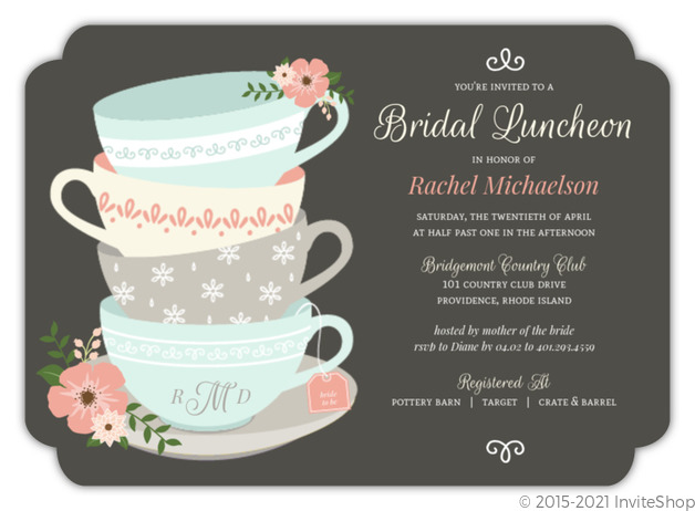vintage tea cups bridal shower invitation