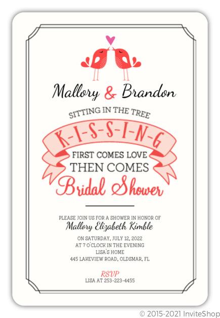 kissing love birds bridal shower invitation