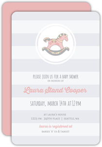 Pink Rocking Horse Baby Shower Invitation