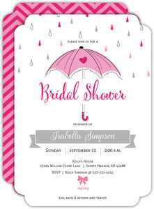 Pink and Gray Umbrella Bridal Shower Invitation