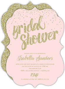 Blush Glitter Gram Bridal Shower Invitation