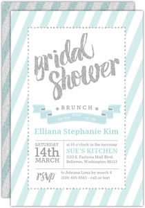 Teal and Faux Silver Glitter Decor Bridal Shower Invitation
