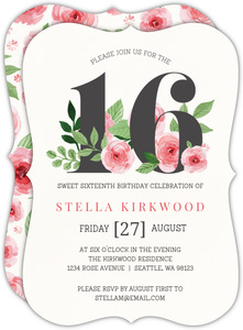 Pink Watercolor Floral Sweet 16 Birthday Invitation