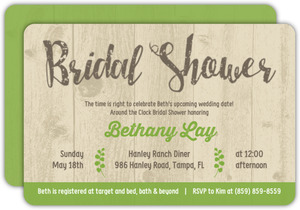 Rustic Green Woodgrain Bridal Shower Invitation