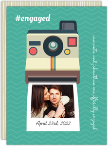 Polaroid Camera Engagement Announcement Card