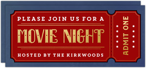 Faux Gold Ticket Movie Night Invitation