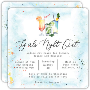 Watercolor Cocktails Girls Night Out Invitation