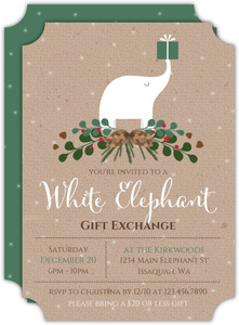 Winter Foliage White Elephant Holiday Party Invitation