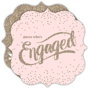 Blush Pink Glitter Confetti Engagement Announcement