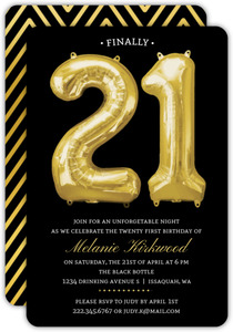 Balloon Faux Gold 21st Birthday Invitation