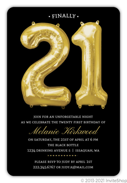 Balloon Faux Gold 21st Birthday Invitation 21st Birthday Invitations