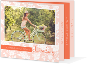 Beautiful Peach Floral Pattern Graduation Booklet Announcement