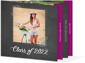 Bright Purple Chalkboard Graudation Booklet Announcement