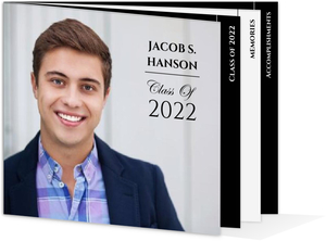Formal Black White Graduation Booklet Announcement