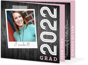 Rustic Gray Wood Pink Graduation Booklet Announcement