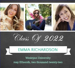Chalkboard Turquoise Striped Graduation Booklet Announcement