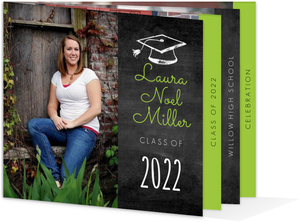 Bright Green Chalkboard Booklet Graduation Invitation