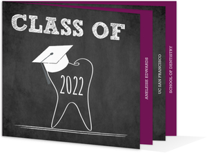 Tooth and Cap Chalkboard Graduation Booklet Invitation