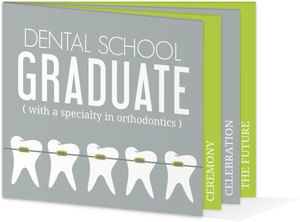 Gray Green Dentist Graduation Booklet Invitation