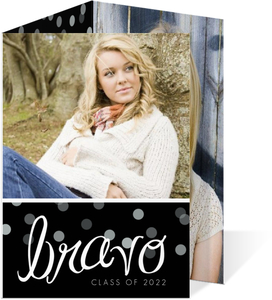 Black White Confetti Graduation Announcement