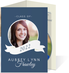 Simple Blue White Banner Graduation Trifold Announcement Card