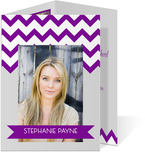 Purple Chevron Pattern Graduation Announcement