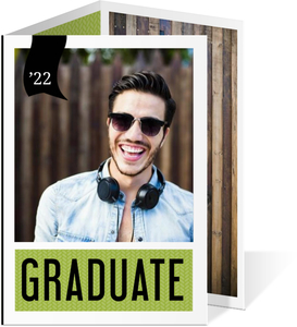Modern Bright Green Black Graduation Announcement