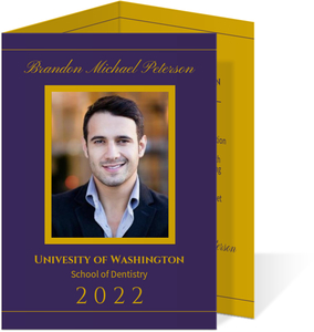 Purple Gold Dental Graduation Announcement