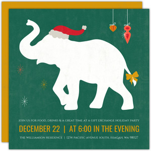Retro White Elephant Holiday Party Invitation