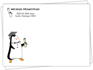 Cap & Diploma Penguin Graduation Custom Envelope