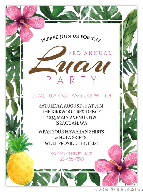 Tropical Pink Hibiscus Luau Party Invitation